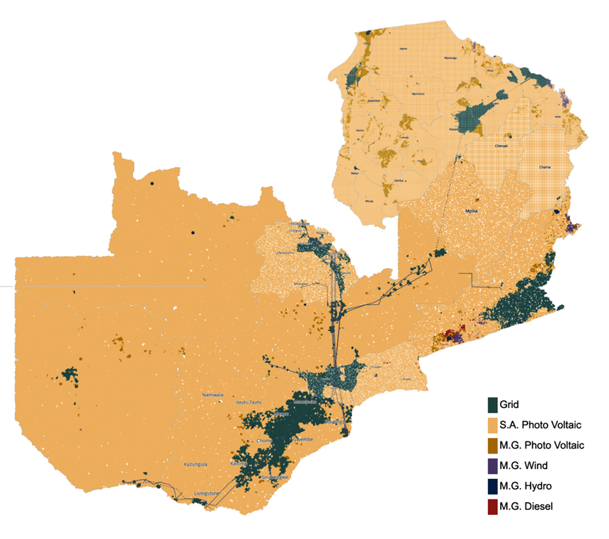 Electrification Pathways tools considers a variety of open, geospatial data to determine least-cost options for bringing electricity to areas as granular as 1 square km in size.
