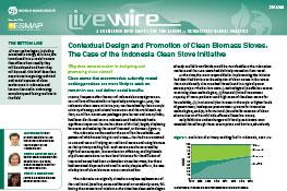 Contextual Design and Promotion of Clean Biomass Stoves : The Case of the Indonesia Clean Stove Initiative