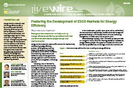 Fostering the Development of ESCO Markets for Energy Efficiency